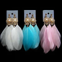Fashion Feather Earring , with Glass Pearl & Zinc Alloy, brass post pin, gold color plated, more colors for choice, 130mm, Sold By Pair