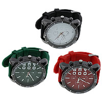 Unisex Wrist Watch, Silicone, with Glass & Zinc Alloy, Chinese movement, plated, adjustable, more colors for choice, 58x54x13mm, 25.5mm, Length:Approx 10.5 Inch, Sold By PC