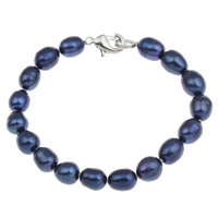 Cultured Freshwater Pearl Bracelets, brass clasp, Rice, different styles for choice, blue, 8-9mm, Length:Approx 7.5 Inch, Sold By Strand