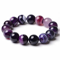 Lace Agate Bracelets, Round, natural & different size for choice, purple, Length:Approx 7.5 Inch, Sold By Strand