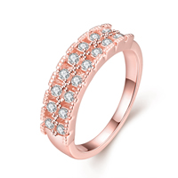 comeon® Finger Ring, Zinc Alloy, real rose gold plated, different size for choice & with rhinestone, 5mm, Sold By PC