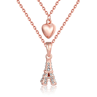 comeon® Jewelry Necklace, Zinc Alloy, with 2lnch extender chain, Eiffel Tower, real rose gold plated, oval chain & with rhinestone & 2-strand, 9x25mm, Length:Approx 17 Inch, Sold By Strand