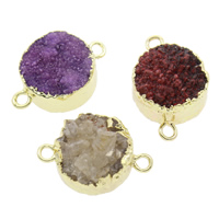 Natural Agate Druzy Connector, Ice Quartz Agate, with Brass, Flat Round, druzy style & 1/1 loop, 22x15x9mm, Hole:Approx 2mm, Sold By PC
