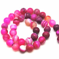 Natural Lace Agate Beads, Round, different size for choice & frosted, rose carmine, Hole:Approx 1-1.2mm, Length:Approx 15 Inch, Sold By Strand