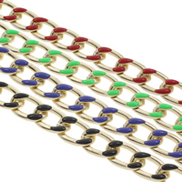 Aluminum Twist Oval Chain, gold color plated, enamel, more colors for choice, 23x15x3mm, Sold By m