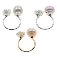 Cultured Freshwater Pearl Finger Ring, Brass, with White Shell & Freshwater Pearl, Flat Round, plated, natural & open, more colors for choice, nickel, lead & cadmium free, 9-10mm, US Ring Size:5.5, Sold By PC