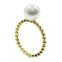 Cultured Freshwater Pearl Finger Ring, with 14K Gold, Round, natural, white, 8-9mm, US Ring Size:6.5, Sold By PC
