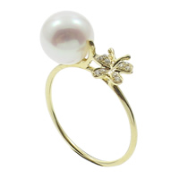 Cultured Freshwater Pearl Finger Ring, with 14K Gold, Round, natural, micro pave cubic zirconia, white, 8-9mm, US Ring Size:5.5, Sold By PC