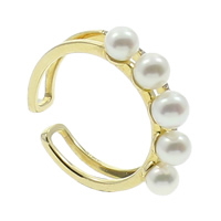 Freshwater Pearl Cuff Finger Ring, with 14K Gold, Round, natural, micro pave cubic zirconia, white, 4-5mm, US Ring Size:5.5, Sold By PC