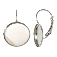 Brass Lever Back Earring Blank, platinum color plated, 15x27x12.5mm, Inner Diameter:Approx 14mm, Sold By PC