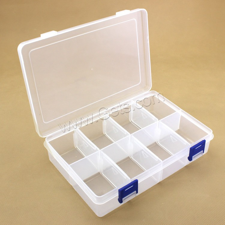 plastic bead container rectangle transparent 8 cells white 195x127x45mm gets