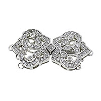 Sterling Silver Box Clasp, 925 Sterling Silver, plated, micro pave cubic zirconia & 5-strand, more colors for choice, 35x18x4.5mm, Hole:Approx 1.5mm, Sold By Set