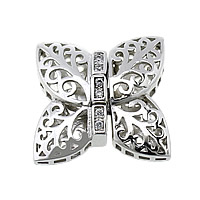 Sterling Silver Box Clasp, 925 Sterling Silver, Butterfly, plated, micro pave cubic zirconia & hollow, more colors for choice, 19x19x6mm, Hole:Approx 1x2mm, Sold By Set