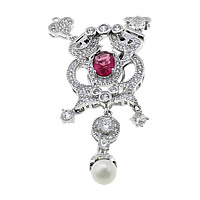 Sterling Silver Box Clasp, 925 Sterling Silver, with Freshwater Pearl, plated, natural & micro pave cubic zirconia & single-strand, more colors for choice, 63mm, 8x11x3mm, 21x29x9mm, 7x11mm, 7.5x15x5mm, 7mm, Hole:Approx 1mm, Sold By Set