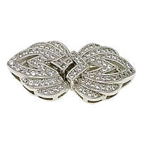 Sterling Silver Box Clasp, 925 Sterling Silver, plated, micro pave cubic zirconia, more colors for choice, 28x14x6.5mm, Hole:Approx 3x1mm, Sold By Set