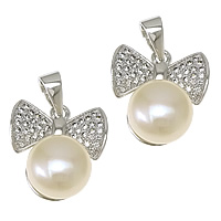 Cultured Pearl Sterling Silver Pendants, 925 Sterling Silver, with Freshwater Pearl, Bowknot, plated, natural & micro pave cubic zirconia, more colors for choice, 14x16x8mm, 9mm, Hole:Approx 3.5x5mm, Sold By PC