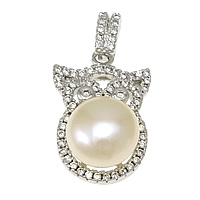 Cultured Pearl Sterling Silver Pendants, 925 Sterling Silver, with Freshwater Pearl, Owl, plated, natural & micro pave cubic zirconia, more colors for choice, 13x19x7.5mm, 9mm, Hole:Approx 3x4mm, Sold By PC