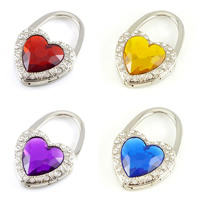 Rhinestone Bag Hanger, Zinc Alloy, with Glass, Heart, platinum color plated, faceted & with rhinestone, more colors for choice, nickel, lead & cadmium free, 45x65mm, Sold By PC