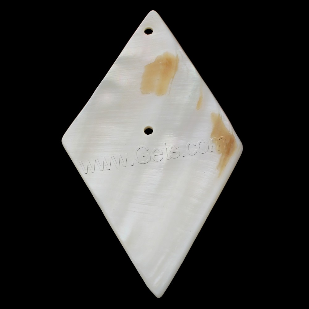 Natural Freshwater Shell Pendants, Rhombus, white, 43x76x4mm, Hole:Approx 1.5mm, Sold By PC