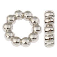 CCB Plastic Linking Ring, Copper Coated Plastic, Flower, platinum color plated, nickel, lead & cadmium free, 15x4mm, Hole:Approx 7.5mm, 100PCs/Bag, Sold By Bag