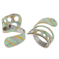 Iron Cuff Finger Ring, platinum color plated, colorful powder, nickel, lead & cadmium free, 20x28x21mm, US Ring Size:9, Sold By PC