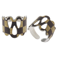 Iron Cuff Finger Ring, platinum color plated, colorful powder, nickel, lead & cadmium free, 20x19x20mm, US Ring Size:7.5, Sold By PC
