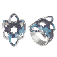 Iron Cuff Finger Ring, platinum color plated, colorful powder, nickel, lead & cadmium free, 22x30x22mm, US Ring Size:9, Sold By PC