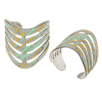 Iron Cuff Finger Ring, platinum color plated, colorful powder, nickel, lead & cadmium free, 23x25x22mm, US Ring Size:11.5, Sold By PC