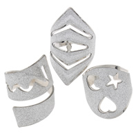 Iron Cuff Finger Ring, platinum color plated, colorful powder, nickel, lead & cadmium free, 20x15x20mm-21x35x20mm, US Ring Size:7.5-10, Sold By PC