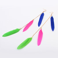 Fashion Feather Earring , with iron chain, brass earring hook, real gold plated, multi-colored, 230mm, Sold By PC