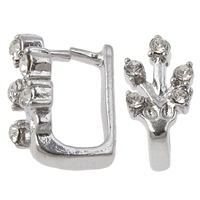 Zinc Alloy Pinch Bail, platinum color plated, with rhinestone, nickel, lead & cadmium free, 8x14mm, Hole:Approx 5x7mm, 10PCs/Bag, Sold By Bag