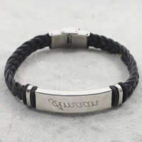 Men Bracelet, Stainless Steel, with PU & Silicone, braided, black, 38x12x5mm, Length:Approx 8 Inch, Sold By Strand