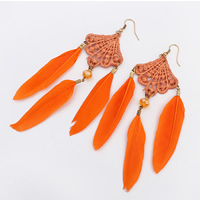 Fashion Feather Earring , Zinc Alloy, with Lace & Feather & Crystal, brass earring hook, gold color plated, faceted, orange, 130x30mm, Sold By Pair