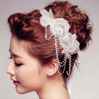 Bridal Hair Band, Organza, with ABS Plastic Pearl & Satin Ribbon & Glass Seed Beads, Flower, for bridal & with rhinestone, white, 24.5x6cm, Length:Approx 19.5 Inch, Sold By PC
