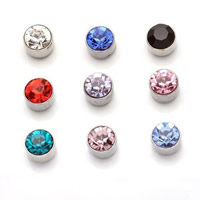 Magnetic Earring, Zinc Alloy, with Magnetic Hematite, stainless steel post pin, Flat Round, platinum color plated, with rhinestone, more colors for choice, nickel, lead & cadmium free, 5mm, Sold By Pair