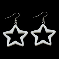 White Shell Earrings, brass earring hook, Star, platinum color plated, natural, 31x33x3mm, 50mm, Sold By Pair