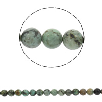 Natural African Turquoise Beads, Round, different size for choice, Length:Approx 15.5 Inch, Sold By Strand