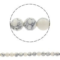 Synthetic Turquoise Beads, Round, white, Hole:Approx 1mm, Length:Approx 15.5 Inch, Sold By Strand