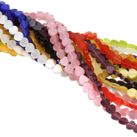Cats Eye Beads, Heart, mixed colors, 6x6x3mm, Hole:Approx 0.5mm, Length:Approx 14.5 Inch, Approx 68PCs/Strand, Sold By Strand