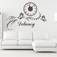 Wall Sticker Clock, PVC Plastic, Butterfly, adhesive & with letter pattern, 800x550mm, Sold By Set