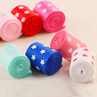 Grosgrain Ribbon, with star pattern, mixed colors, 25mm, 100Strands/Bag, 1m/Strand, Sold By Bag