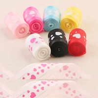 Organza Ribbon, with heart pattern, mixed colors, 25mm, 100Strands/Bag, 1m/Strand, Sold By Bag