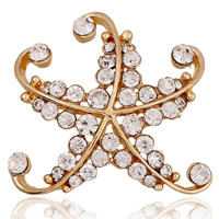 Rhinestone Zinc Alloy Brooch, Starfish, gold color plated, with rhinestone, nickel, lead & cadmium free, 38x38mm, Sold By PC
