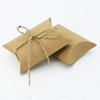 Wedding Candy Box, Kraft, with Linen, 90x65x24mm, Sold By PC