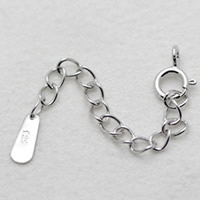 Brass Spring Ring Clasp, silver color plated, with 925 logo & with extender chain & twist oval chain, nickel, lead & cadmium free, 10x5mm, 50mm, Hole:Approx 2-5mm, Sold By PC
