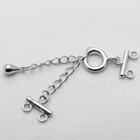 Brass Spring Ring Clasp, silver color plated, with connector bar & with extender chain & 2-strand, nickel, lead & cadmium free, 28x10mm, 50mm, Hole:Approx 2-5mm, Sold By PC