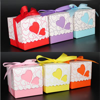 Wedding Candy Box, Paper, with Satin Ribbon, Cube, handmade, with heart pattern, more colors for choice, 50x50x50mm, Sold By PC