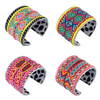 Zinc Alloy Friendship Cuff  Bangle, with PU & Wool & Velveteen, platinum color plated, with rhinestone, more colors for choice, nickel, lead & cadmium free, 67x52mm, Inner Diameter:Approx 60mm, Length:Approx 8 Inch, Sold By PC