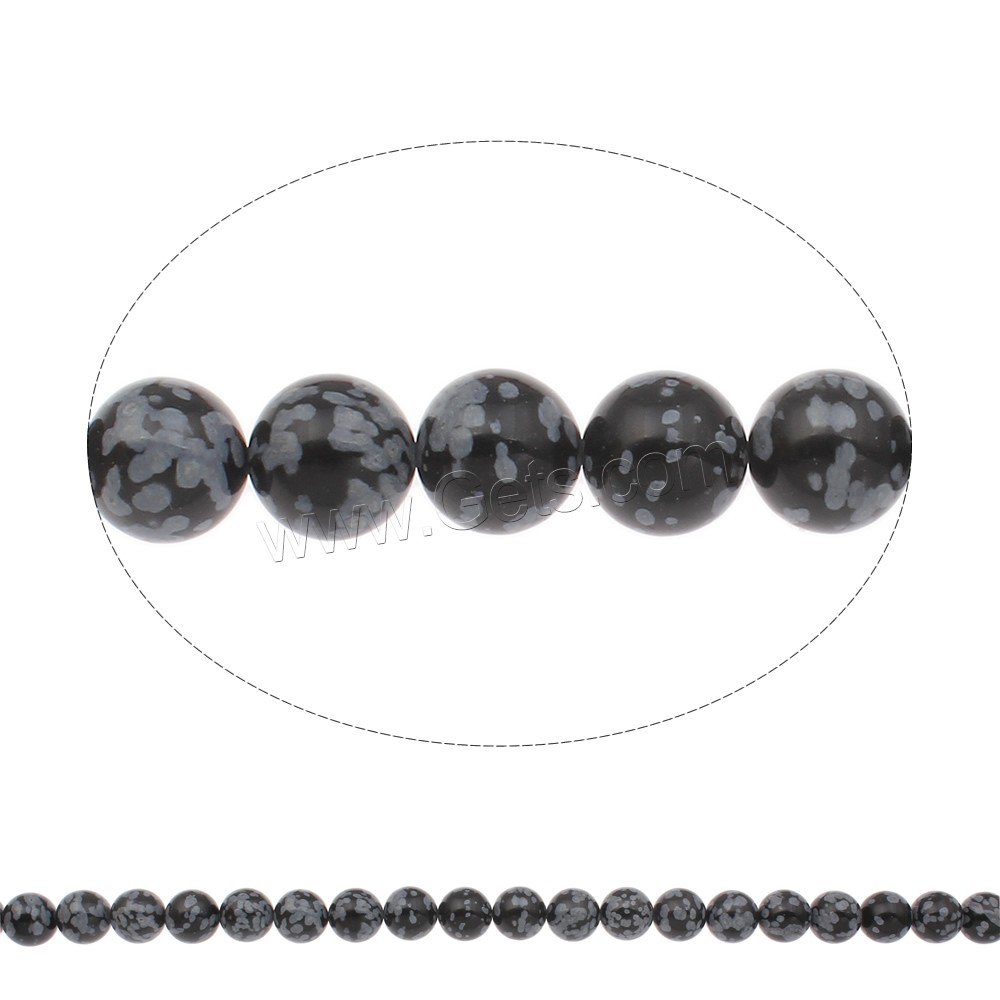 Snowflake Obsidian Bead, Round, natural, different size for choice, Hole:Approx 1mm, Length:Approx 17 Inch, Sold By Strand