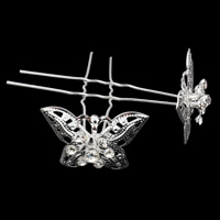 Hair Pins, Zinc Alloy, with iron pin, Butterfly, silver color plated, with rhinestone, nickel, lead & cadmium free, 33x22x69mm, 20PCs/Bag, Sold By Bag